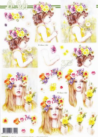 Girls With Spring Flowers In Their Hair Die Cut 3D Decoupage Sheet From Le Suh